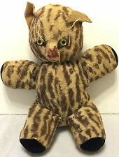 "Vintage Mid Century Stuffed Cat Plush 10"" Animal Toy Whiskers Spotted Old"