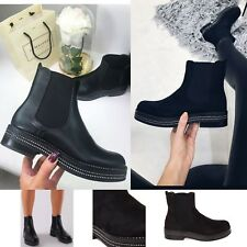 Womens Ladies Chelsea Ankle Boots Flat Chunky Sole Diamante Biker Shoes Size