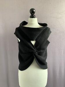 "OSKA Gorgeous Virgin Wool Arty & Cozy Fitted Shrug / Vest Jumper Black 38-40"" CH"