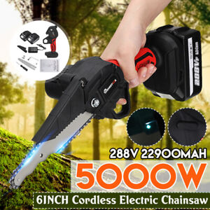 6'' 288V Electric Cordless Electric Chain Saw Wood Cutter One-Hand Saw w/ LED