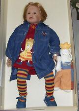 Puppenkleid Melanies Kleid rotes Strickkleid mit Applikation