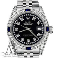 Women's Rolex 31mm Watch Datejust Black String Accent Dial Sapphire & Diamond