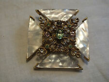 Beautiful Brooch Pin Gold Tone Rhinestones Cabochons Signed BSK 2 Inch UNIQUE