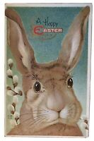 ~ BIG BROWN BUNNY RABBIT ~FLOWERS~ ANTIQUE~EMBOSSED~EASTER POSTCARD--a840
