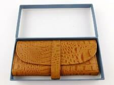 Reed and Barton Carmel Leather Jewelry Travel Roll Clutch in Box Cognac Croc A+