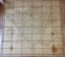FRANCE ROUTES OF THE POST 1854 by SAGANSAN VERY LARGE ANTIQUE WALL MAP