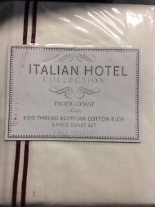 Italian Hotel-Pacific Coast Full/Queen Duvet Set White/Red NIP