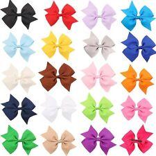 "20 Pcs 4"" Baby Girls Grosgrain Ribbon Boutique Hair Bows For School Girls"