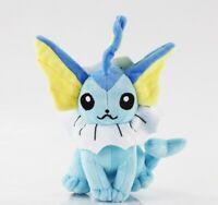 Pokemon Vaporeon Evolution Blue Eevee Figure Plush Toy Stuffed Doll 7'' Kid Gift