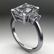 5 Ct Emerald Cut Near White Moissanite Engagement Ring 925 Sterling Silver