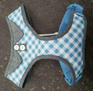Martha Stewart Adjustable Fabric Blue White Checkered Harness Medium Size Dog