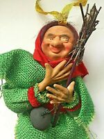 Vintage Paper Mache Head Halloween Witch Burlap Tall Spun Head Broom Cauldron
