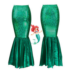 High Waist Emerald Green Mermaid Skirt Fish Scale tail Costume Maxi Dress S-XL