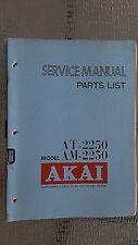 Akai at-2250 am-2250 Service Manual parts list stereo tuner original repair book