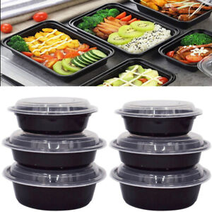 10PCS 720ML Meal Prep Food Containers Disposable Microwave Oven Bowls with Lids