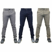 Mens Chino Jeans Crosshatch Slim Fit Pants Chinor Straight Leg Trousers Bottoms