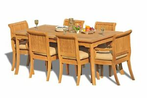 """7-Piece Outdoor Teak Dining Set: 83"""" Rectangle Table, 6 Arm/Armless Chairs Giva"""