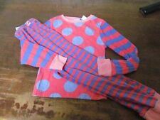 Girl's XS (3T-4T) Little Miss Matched Pajamas Set Pink Blue Polka Dots Striped