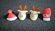 Lot of 4 Christmas Hair little Clips for baby Accessories Reindeer Mitten Hat