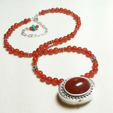 CARNELIAN AND HANDMADE PRAYER BOX ALL STERLING SILVER BEADED NECKLACE - UNIQUE!