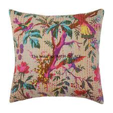 Decorative Indian 16'' Cotton Kantha Cushion Cover Throw Case Boho Vintage Decor