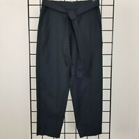 J Crew Linen Blend Cropped Pants Belted Womens 4 Black