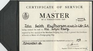CERTIFICATE OF SERVICE  AS MASTER OF FOREIGN GOING SHIP .J S MC PEARSON .M.V.O.