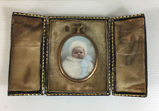 Antique Leather Cased Coloured Photograph Of A Baby 5cm Photograph Height