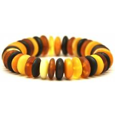 Unpolished Baltic amber elastic multicolour bracelet