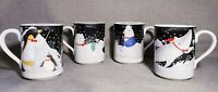 Polar Party Christmas Mugs EPOCH by Noritake - set of 4 Whale Bear Seal Penguin