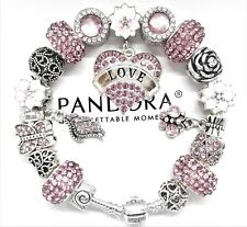 Authentic Pandora Silver Charm Bracelet with Pink Love European Charms...NIB