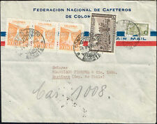 2904 Colombia To Chile Air Mail Cover 1948 Bogota - Santiago Coffee Advertising
