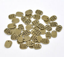 40 'Made With Love' Charms Tags 11mm x 8mm Antique Bronze Tone  J14389F