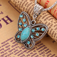 Hollow Out Design Crystal Turquoise Butterfly Pendant  Tibet Silver Necklace
