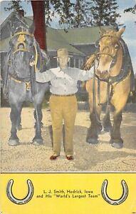 H68/ Hedrick Iowa Postcard Linen L.J. Smith Horse Team Largest Farmer 25