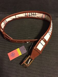 NWT TORY BURCH DASH BELT LEATHER TRIM NAVY NATURAL RED CANVAS SIZE XXS $185