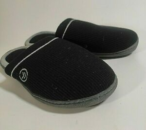 Isotoner Women's Fabric Slippers Size 9.5 - 10 Black Gray Trim Rubber Sole