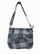 Black & White Tartan Vintage Retro Gothic Messenger Shoulder Bag Banned Apparel