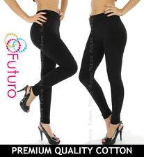 Black Leggings Full Length Thick Natural Cotton All Sizes 8-22