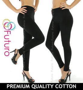 Black Leggings Full Length Thick Natural Cotton All Sizes 8-22
