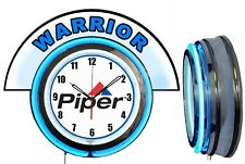 "Piper Aircraft w/ Warrior Marquee 19"" Blue Neon Clock Mancave"