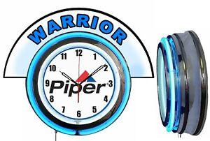 """Piper Aircraft w/ Warrior Marquee 19"""" Blue Neon Clock Mancave"""