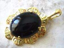 Q1408, New 14k Solid yellow Gold Y/G Black Onyx Pendant, 20*24mm, Enhancer