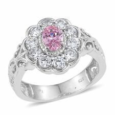 PINK POSH WHITE CLEAR SIMULATED DIAMOND FLOWER  SOLITAIRE ACCENTS RING SIZE 5