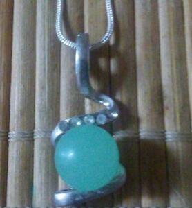 Tibet silver Natural light green jade bead pendant necklace