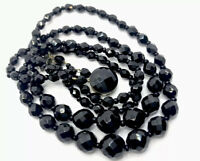 "VINTAGE Double String FACETED FRENCH JET Graduated  BEAD NECKLACE 18"" GIFT BOXED"