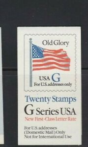 "Complete booklet of 10 stamps, BK222, BC106B, two panes of 2884a, ""G"" blue"