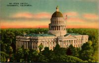Vintage 1930's State Capitol Building in Sacramento California CA Postcard