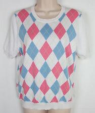 Womens Brooks Brothers 346 Argyle sweater short sleeve White Size L