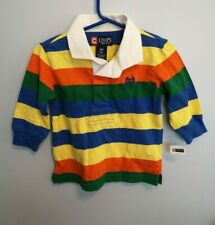 NWT Chaps Preppy Toddler Boys Multi Colored Striped Polo long Sleeves Shirt 18 M